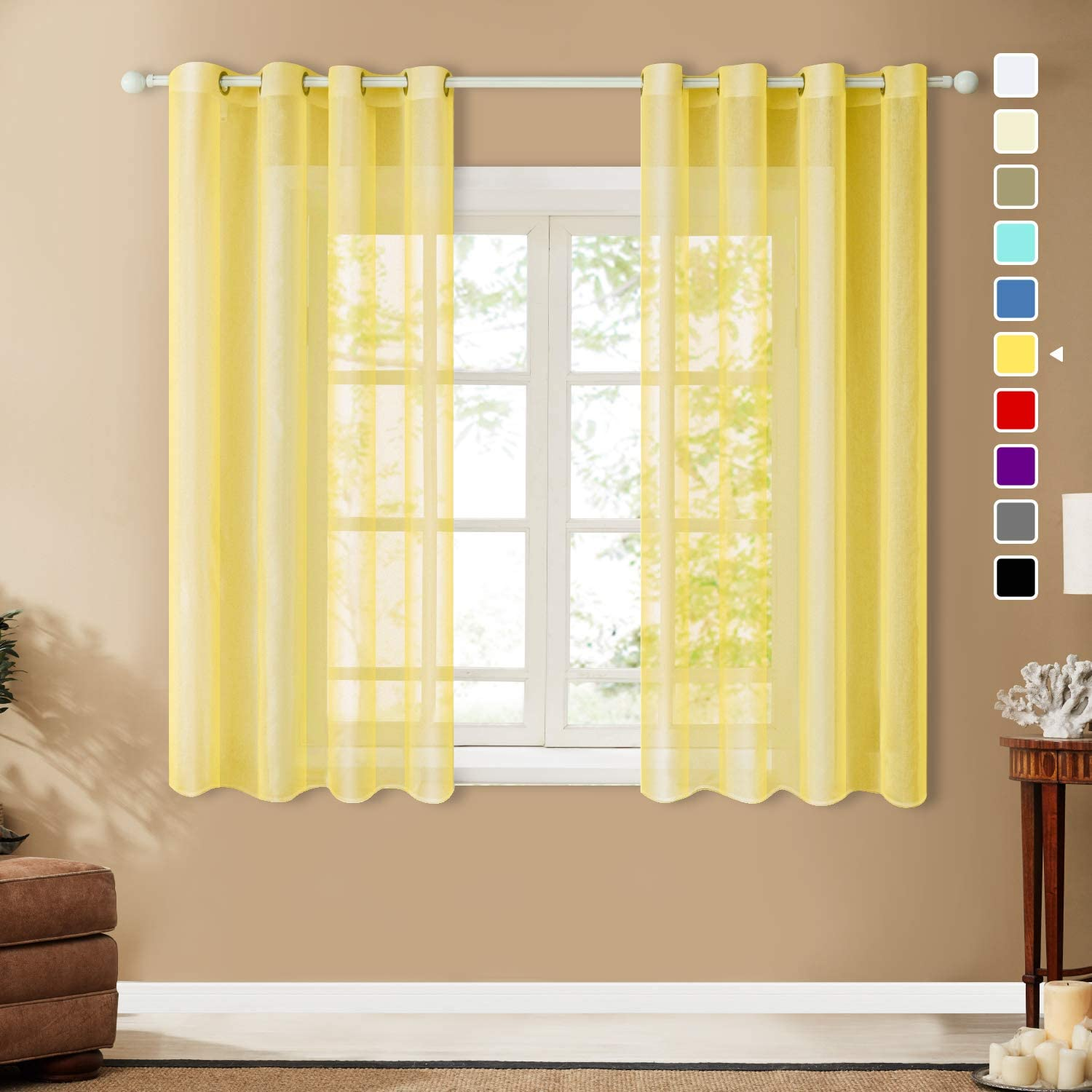 Top Finel Grommet Sheer Curtains 54 Inch Length for Bedroom Living Room Small Window, Yellow, 2 Panels