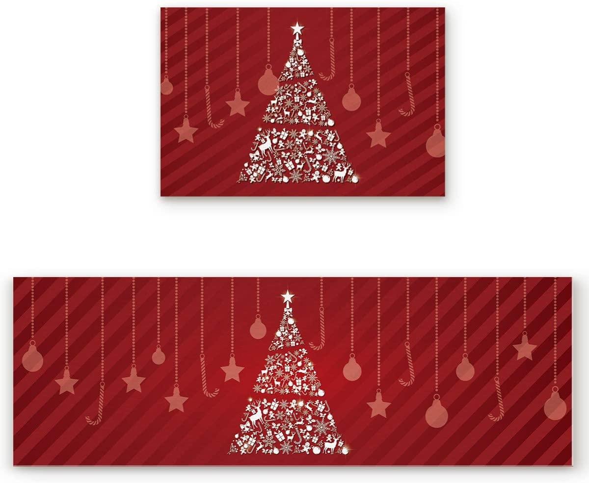 2 Pcs Kitchen Mats Runner Rug Set Anti Fatigue Standing Mat Rubber Backing Dreamlike Christmas Fantastic Xmas Tree Print Washable Floor Mat Area Rug for Home/Office 19.7