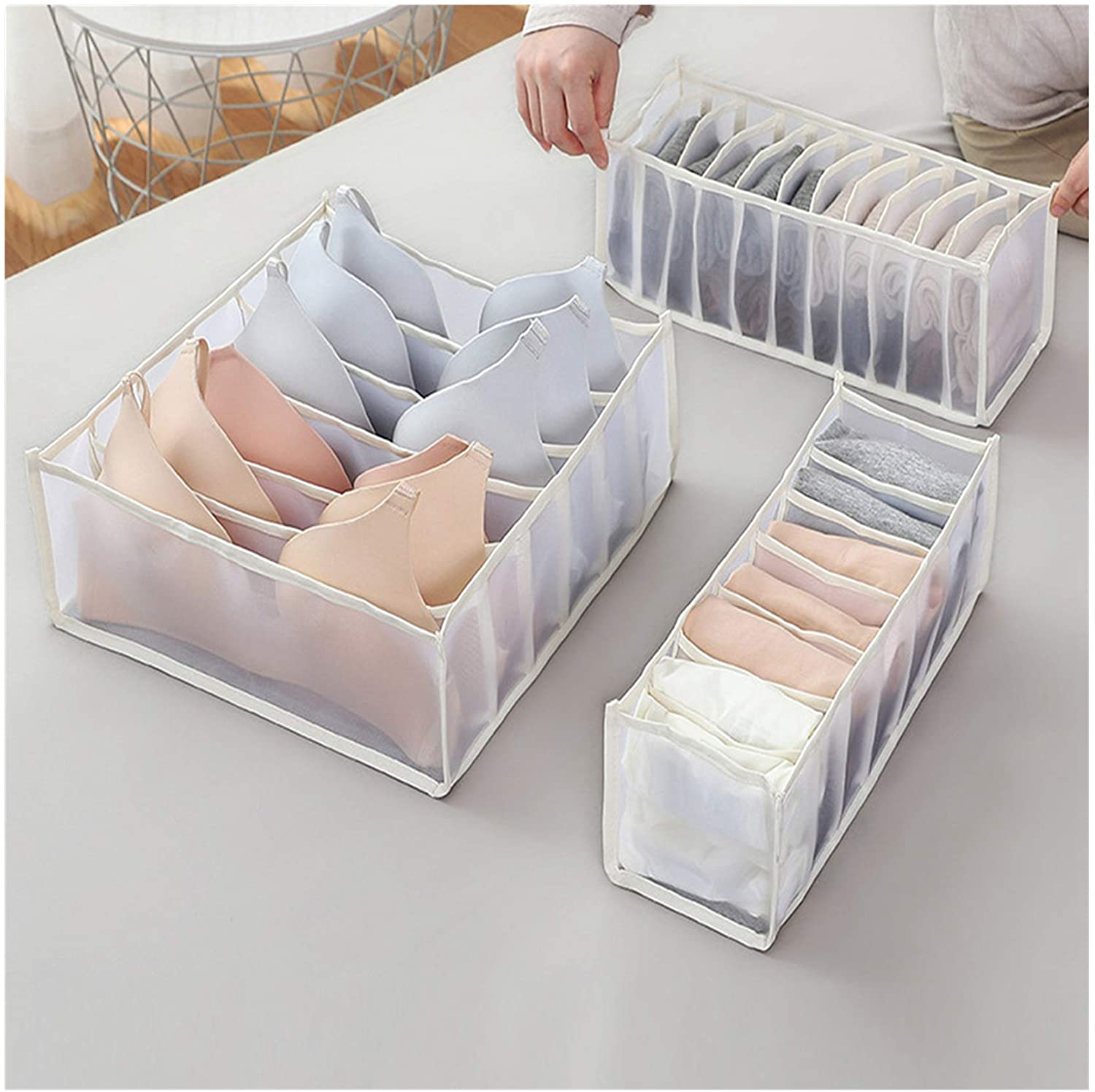GXGG Closet Underwear Organizer Drawer Divider for Women, Bra Organizing Set of 3 Includes 6+7+11 Cell Lightweight Mesh Bins, Better for Sorting Storage (CupA-D) Lingerie, Panties, Socks (A-White)