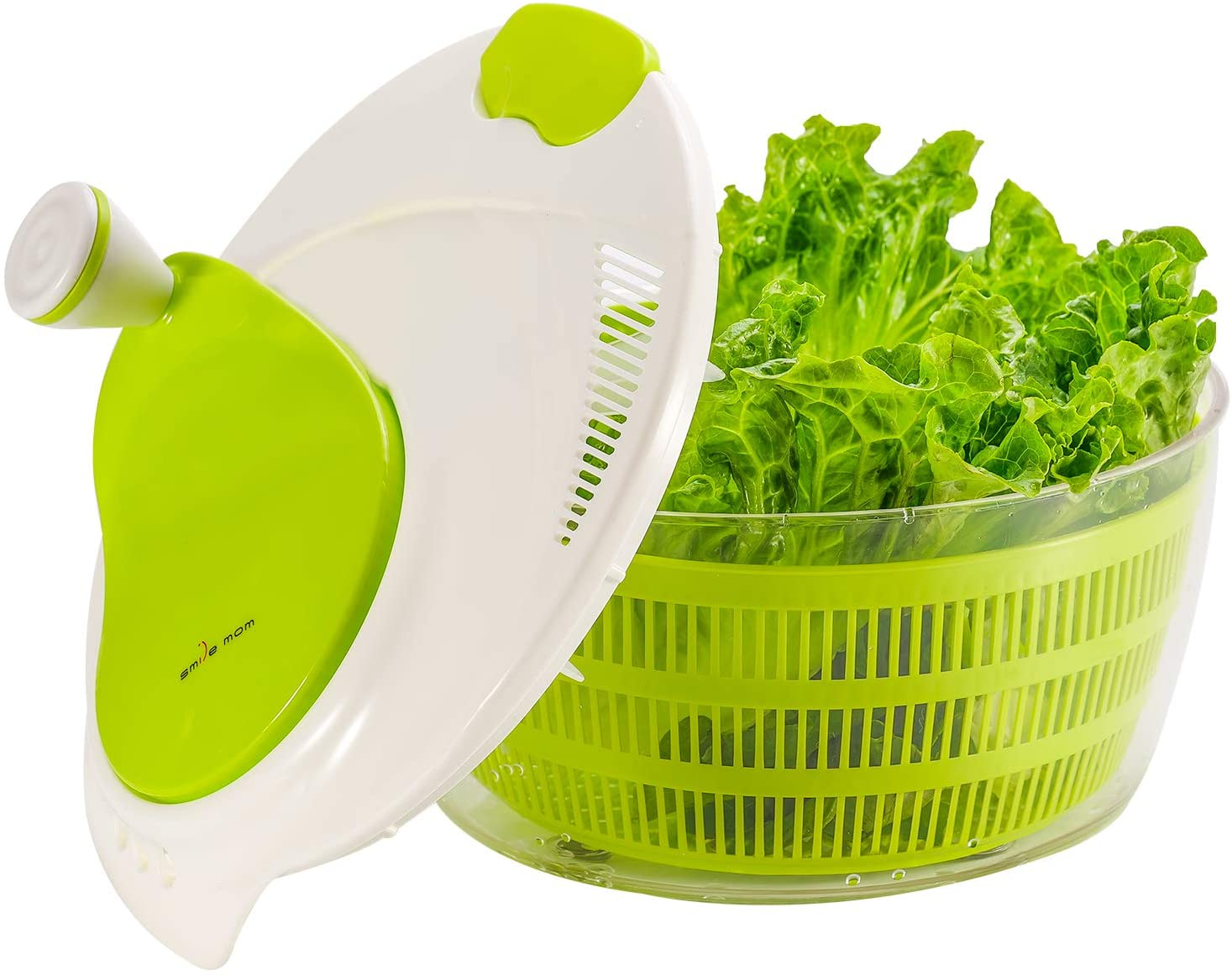 Smile Mom Salad Spinner Large 4 Quarts, ABS,BPA Free Clips & Locking, Lettuce Vegetables Washer Dryer Drainer Crisper Strainer for Home Kitchen Washing & Drying Leafy Vegetables