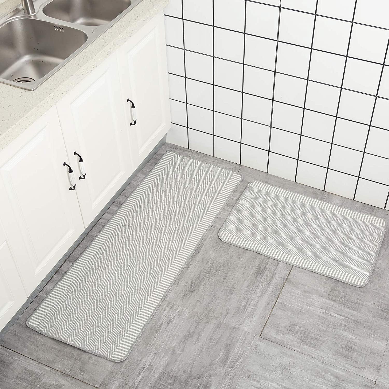 Kitchen Rug Set 2, Non-Slip Soft Super Absorbent Kitchen Mat, Blend Cotton Woven Modern Geometric Kitchen Carpet Set 17