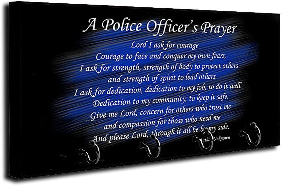 Brotherhood Thin Blue Line A Police Officers Prayer Key Holder Organizer Wall Mount Rack for Holders The Home Keys Ring Decorative Hangers Decor Hook Hanger