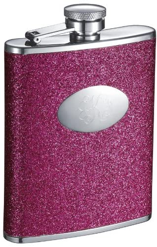 Personalized Visol Ashlee Glitter Hot Pink 6 oz Flask with Free Engraving