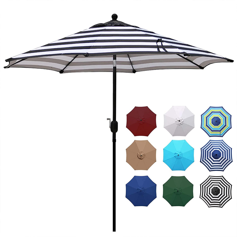 Blissun 9' Outdoor Aluminum Patio Umbrella, Striped Patio Umbrella, Market Striped Umbrella with Push Button Tilt and Crank (Black & White Stripe)