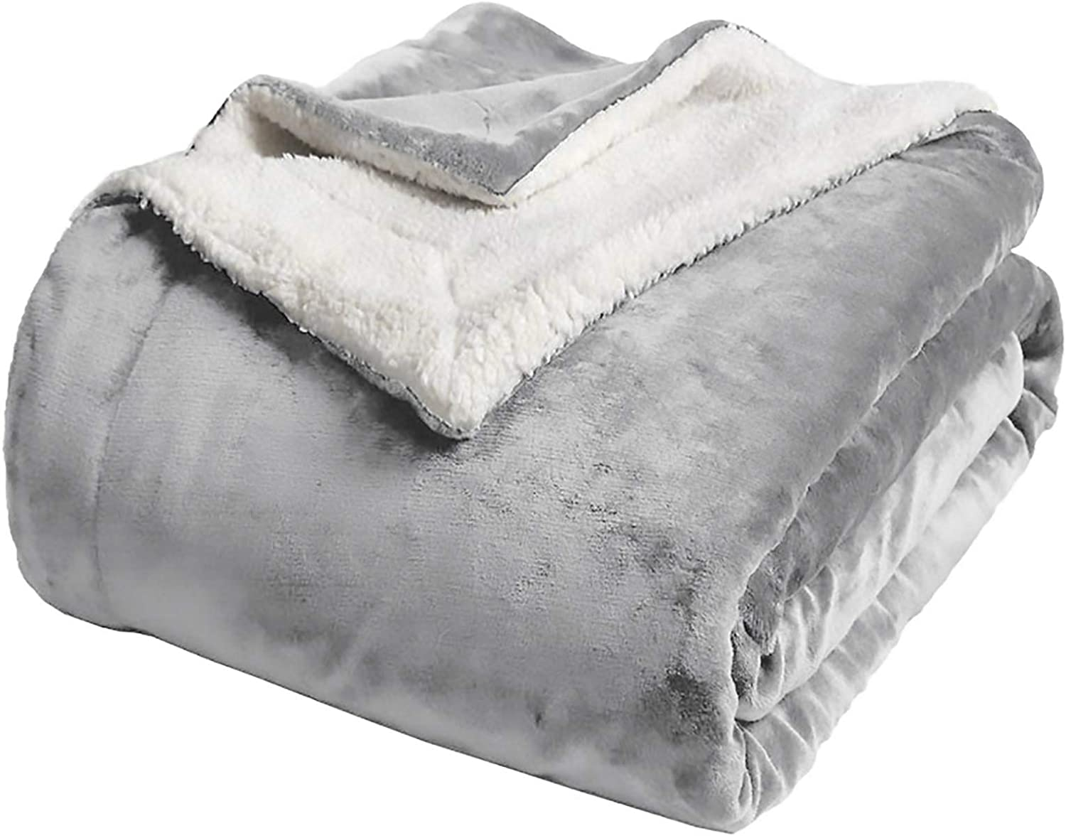 Chicwe Kleverise Sherpa Fleece Blanket Twin Size Plush Soft Reversible Super Soft Extra Warm and Comfortable Fuzzy Blanket Suitable for Sofa Travel and Outdoor Silver Grey 6080 in