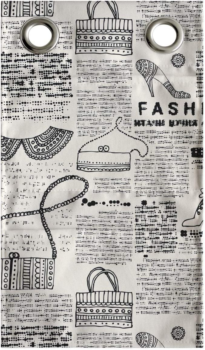 Lunarable Old Newspaper Hanging Pocket Organizer, Vintage Fashion Themed Shoes Handbag Purses with Ornate Details Retro, Printed Polyester Storage Bag with Pockets, 9