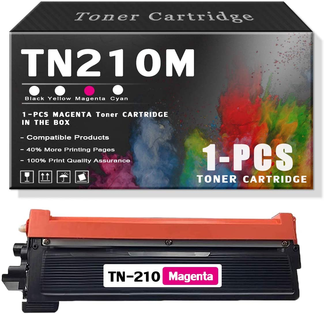 Magenta 1-PackTN210M TonerCartridgeCompatible for Brother InkCartridgeReplacementforBrother HL-3040CN 3045CN 3070CW MFC-9010CN 9120CN DCP-9010CNPrinters.