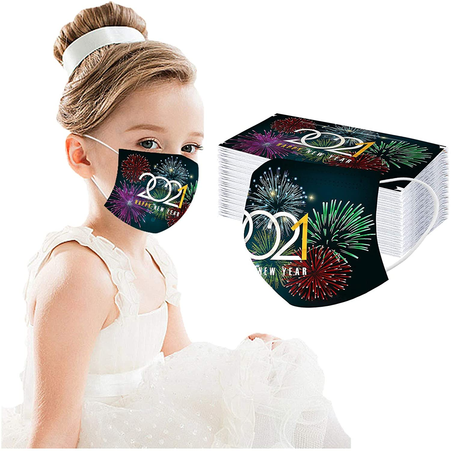 50 Pcs, Kids Christmas Disposable Fɑcѐ ṁɑѕḱѕ, Cute Novelty 2021 Happy New Year Pattern, 3 Layers Print Face ṁɑşḱ, Comfortable and Breathable, for Children
