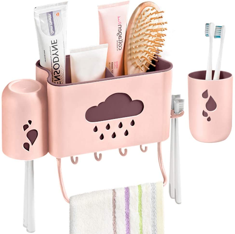IWNTWY Toothbrush Holder, Adhesive Wall Mounted Toothpaste Holder with 2 Cups and 4 Hooks for Bathroom Organizer (Pink)