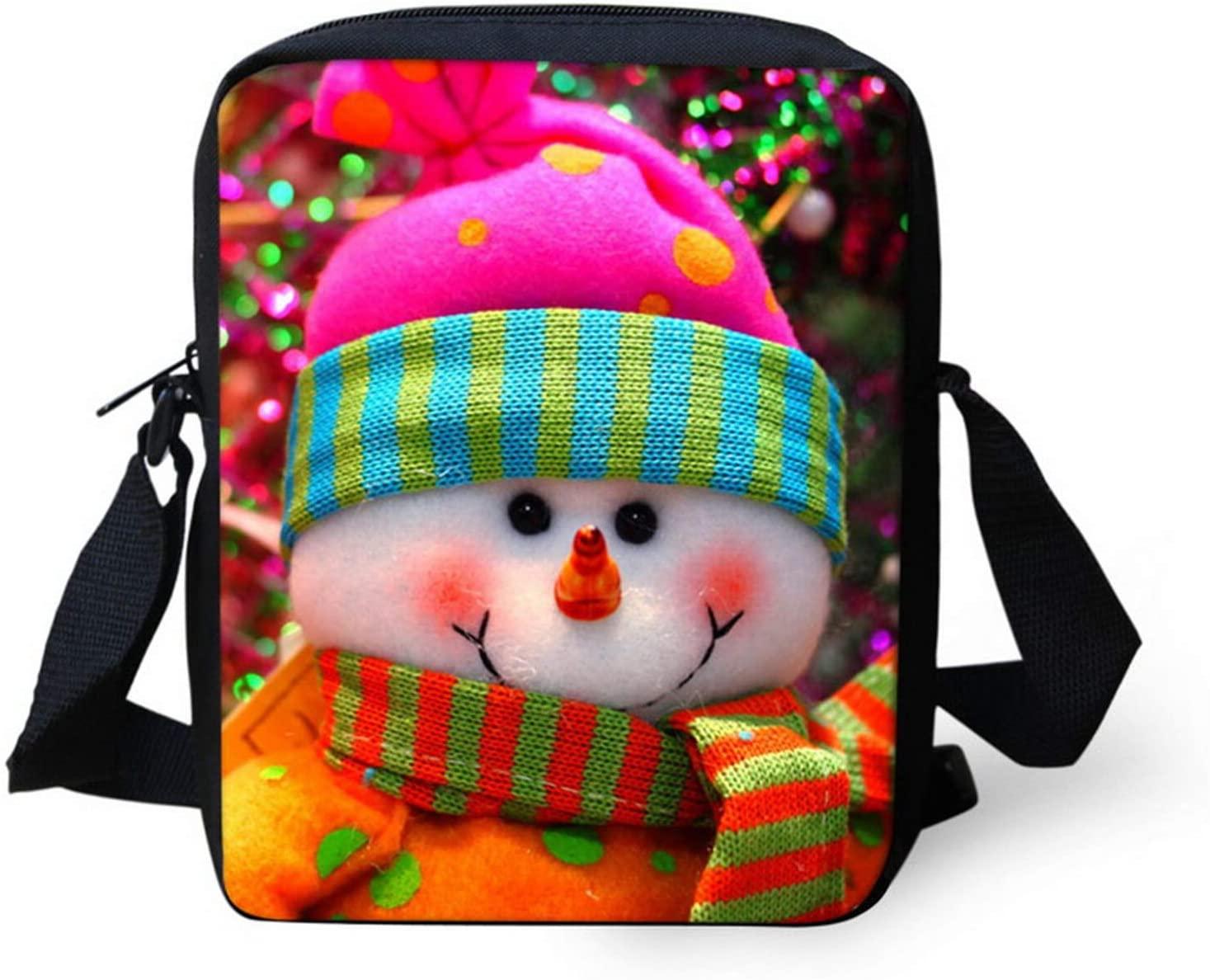 NETILGEN Small Messenger Bag, Cute Snowman Cross Body Bag with Adjustable Strap, Kids Travel Shoulder Bag with Zipper, Boys Girls Messenger Bag Strap, Durable Polyester