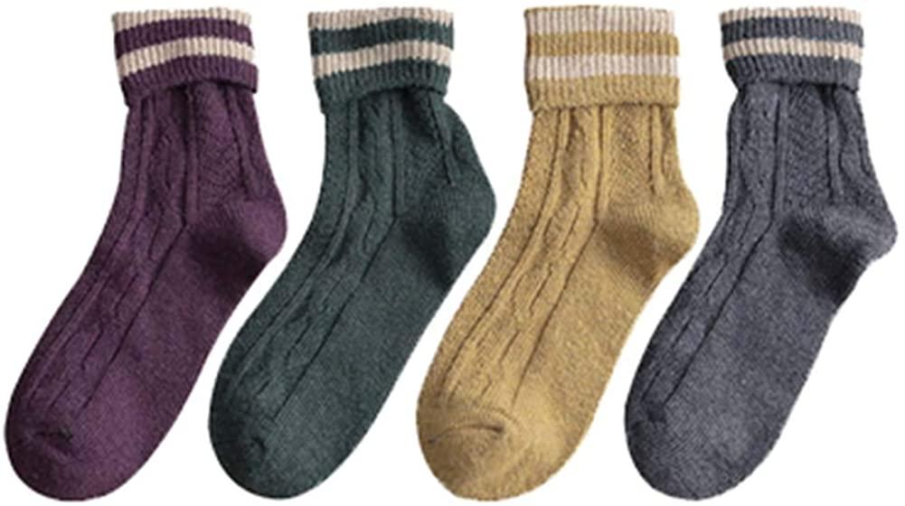 4 Pairs Womens Wool Socks Thick Socks Winter Warm Cozy Socks Gifts, A-14