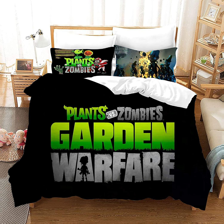 Jacrarr Plants vs. Zombies Bedding Duvet Cover Sets Twin Microfiber 2PCs Cartoon Quilt Cover Kids Teens Game Topic Duvet Cover Set,NO Comforter