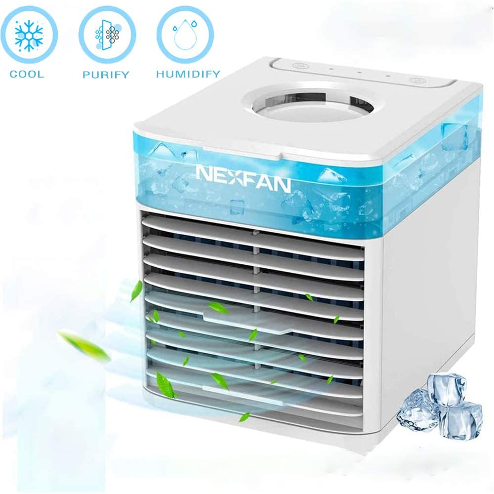 nulala Mini Portable Air Conditioner Personal Desktop Cooling Fan 3 Speed Desktop Air Cooler for Home Office Desk Outdoor