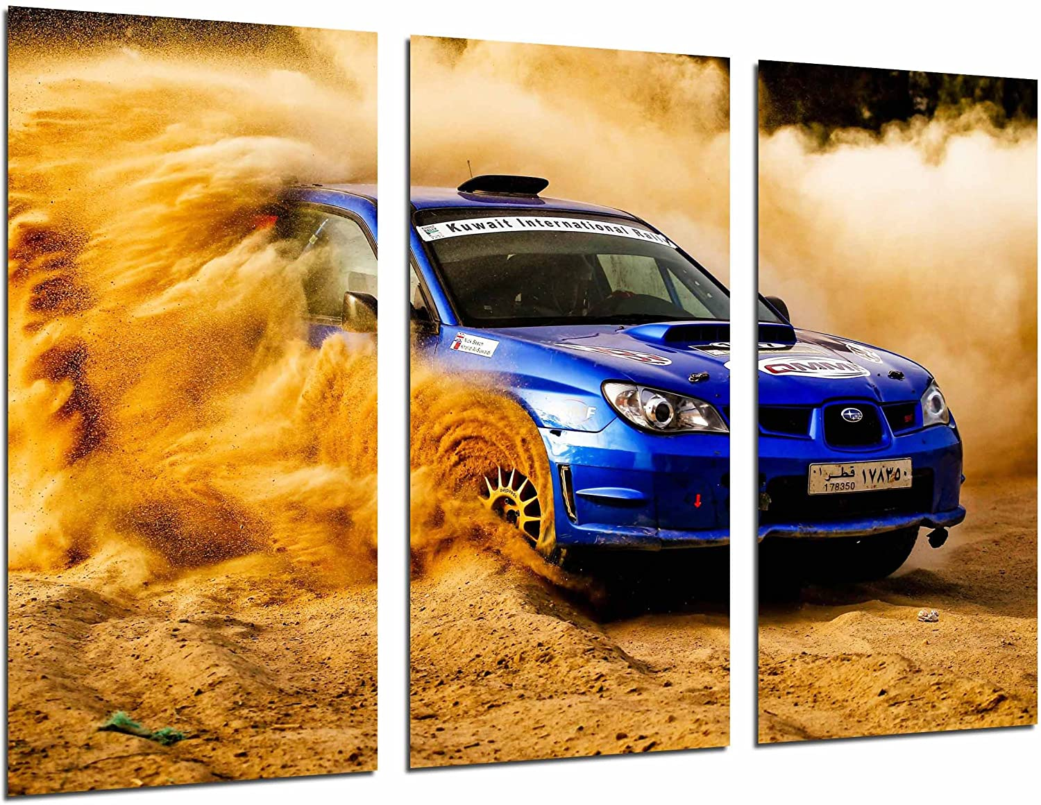Cuadros Camara Multi Wood Printings Art Print Box Framed Picture Wall Hanging - (Total Size: 38 x 24.4 in), Landscape Desert Nuve Arena, Car Racing Blue Rally - Framed and Ready to Hang - ref. 26986