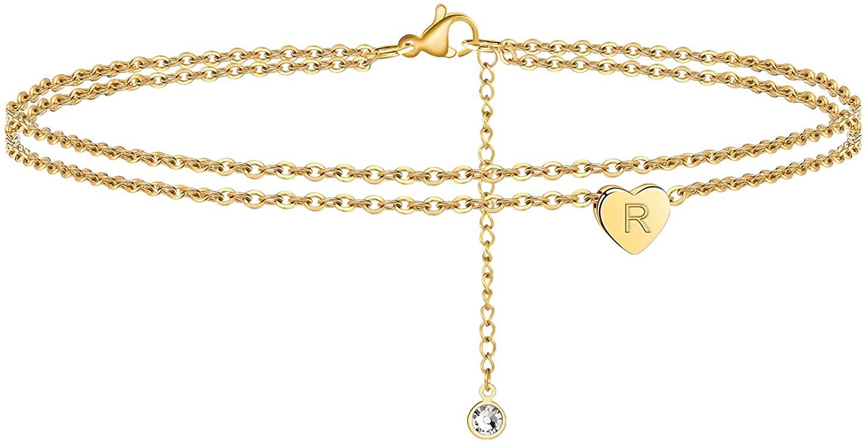 Ursteel Ankle Bracelets for Women, 14K Gold Plated Dainty Layered Heart Initial Anklets for Women Teen Girls