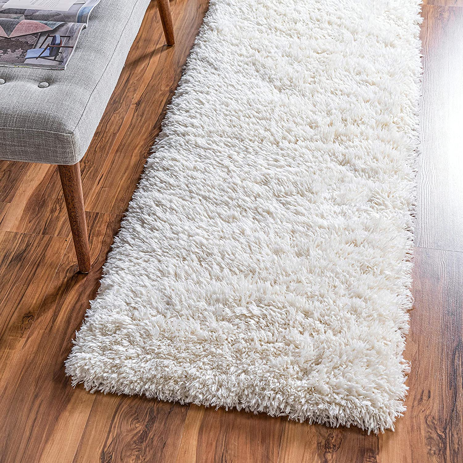 Rugs.com Infinity Collection Solid Shag Runner Rug - Pearl 3' x 13' Plush Shag Rug Perfect for Hallways, Living Rooms, Bedrooms and More