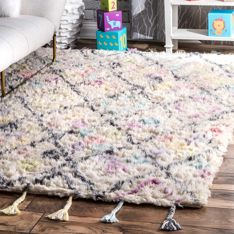 nuLOOM Diamonds Wool Shag Rug, 3' x 5', Off White