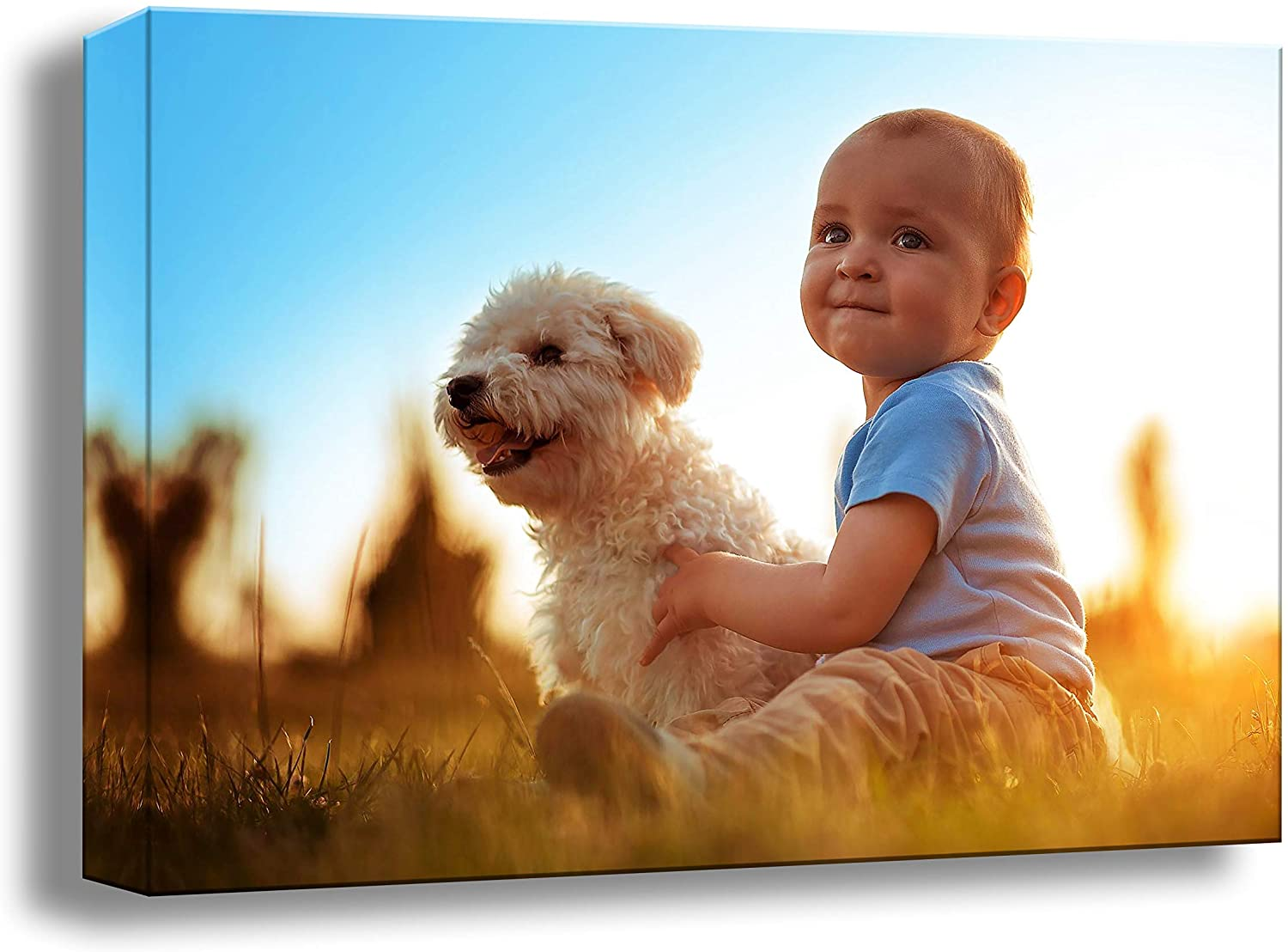 Canvas Prints with Your Photos, Custom Pictures On Gallery Wrapped Giclee Painting Wall Art Home Decor Personalized Gift 16x16 Inch (40cmx40cm)