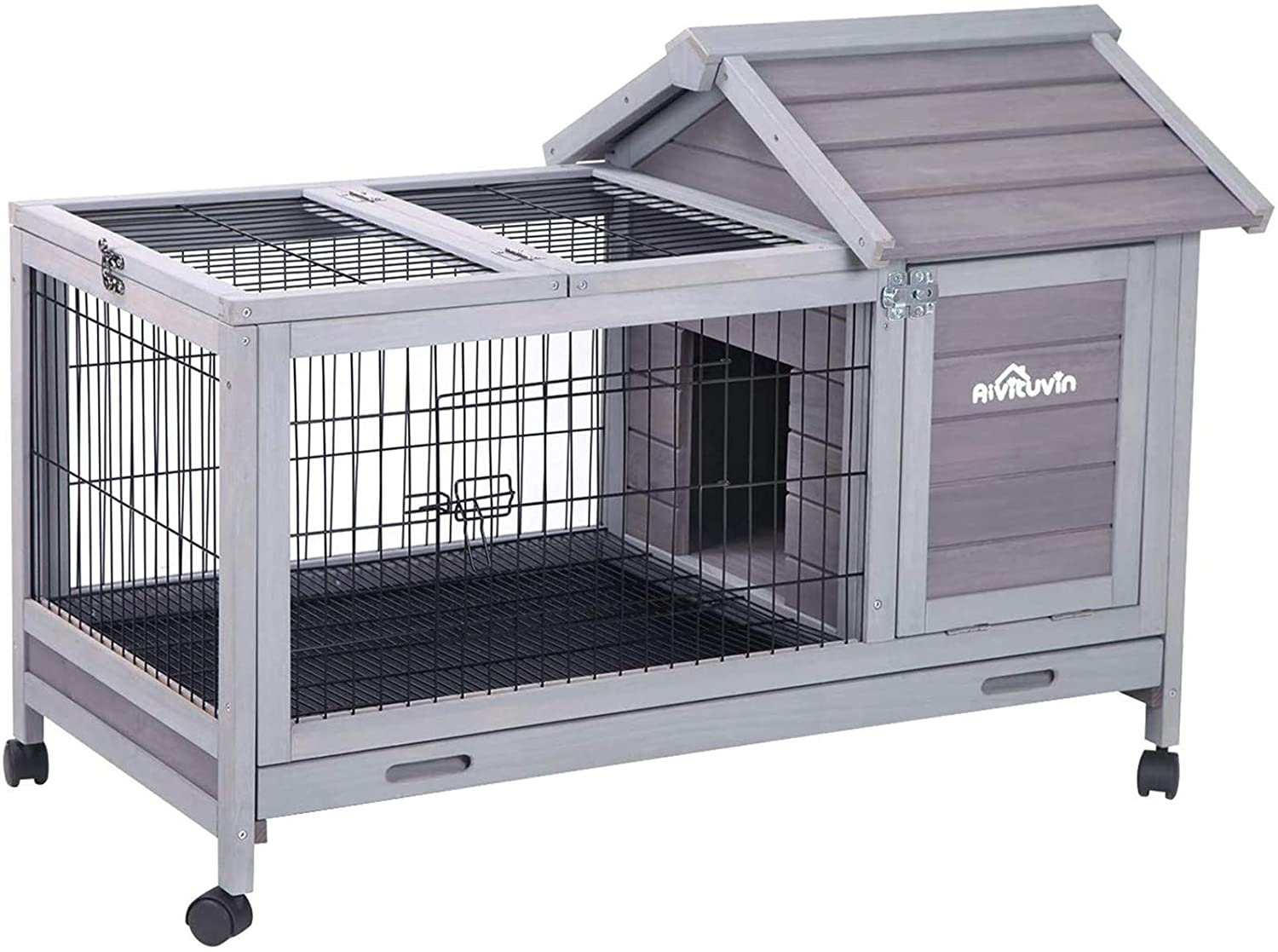 Aivituvin Wooden Rabbit Hutch with Removable Wire Floor Grid 40.4
