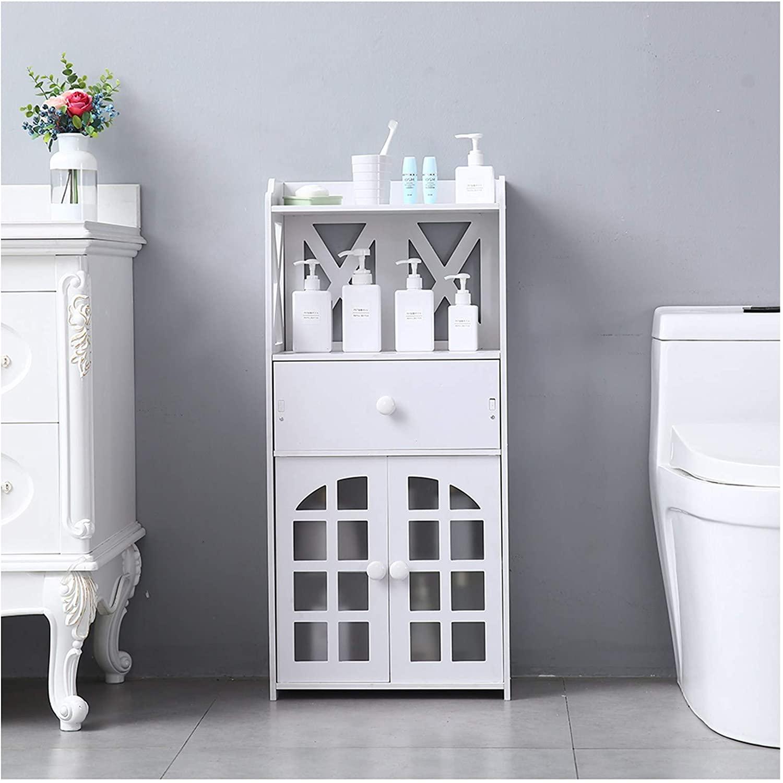 SPARSIFOLIA 3-Layer Storage Cabinet; PVC Floor Bathroom Cabinet Rack Stand Storage Organizer with Drawers & 2 Doors; 16
