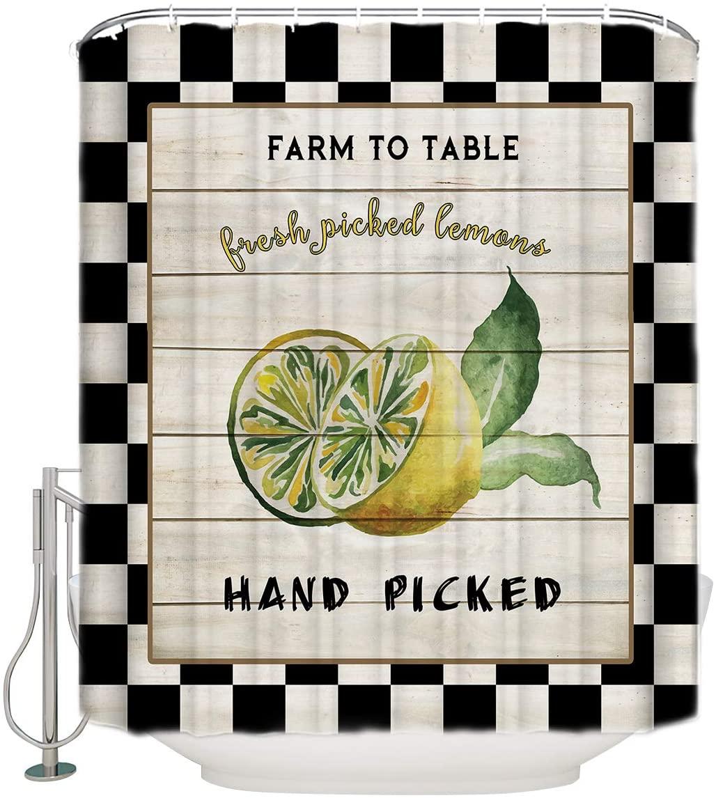 GoJeek Lemon Fruit Shower Curtain, Black White Patchwork Barn Door Hand Picked Lemon Farmhouse Bathroom Decor