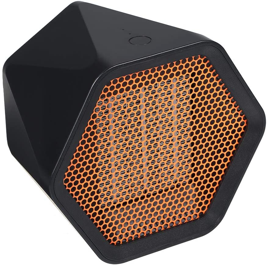 Space Heater, 600W Ceramic Heating Electric Fan Heater, Portable Intelligent Temperature Control, Winter Home Office Desktop Hexagon Heater BlackUS Plug