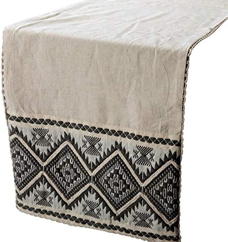 The HomeCentric Linen Table Runner, Beige Linen Fabric with Embroidery & Lace Beige Linen 14 x 72 inch Long, Wedding Decor Table Linen Modern Table Runner - Turkish Oud