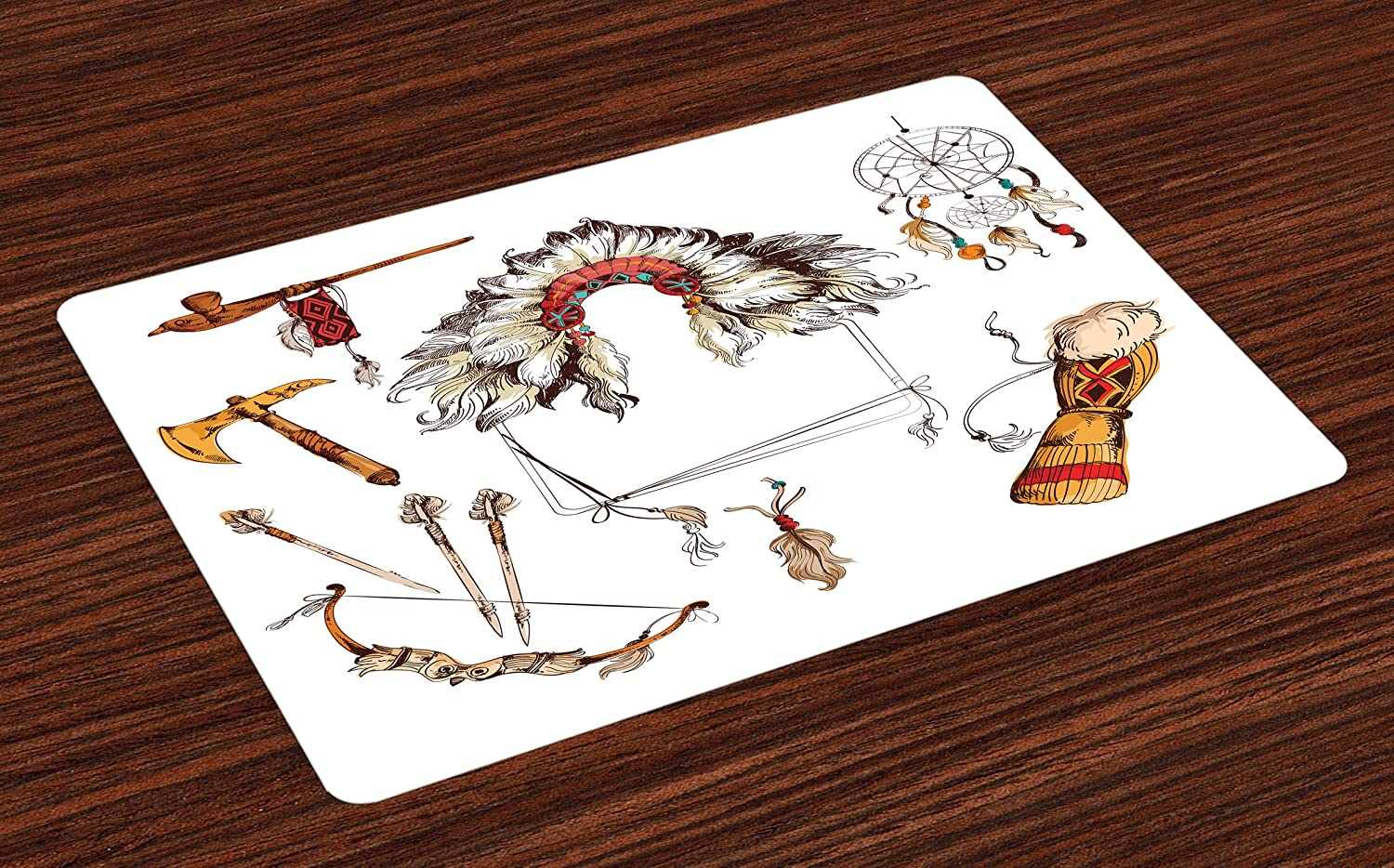 Ambesonne Tribal Place Mats Set of 4, Tomahawk Native Chef Dreamcatcher Feather Old World Motifs Image, Washable Fabric Placemats for Dining Room Kitchen Table Decor, Marigold Beige