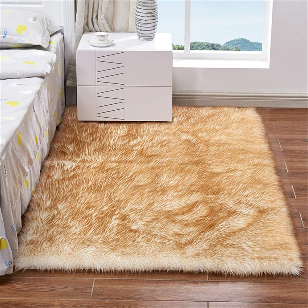 Briskaari Soft Fluffy Faux Sheepskin Fur Area Rugs,4ft x6 ft Rectangle Faux Fur Carpet for Living Room Bedroom Dining Room Nursery Foyer or Home Office Home Decor Floor Carpet (3ftx3ft, Bleached gold)