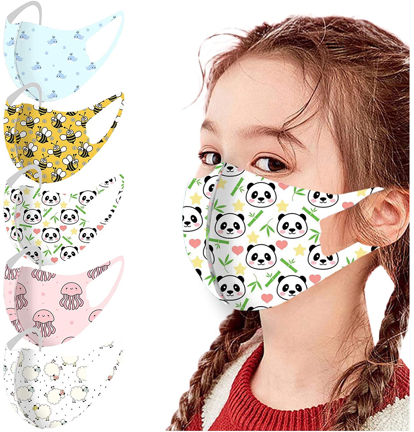 Cute Cartoon Print Face_Mask for Kids Washable Face Protection with Nose Wire Reusable Anti-Dust Face Bandana Covering Safety Care for Boys and Girls 5PC