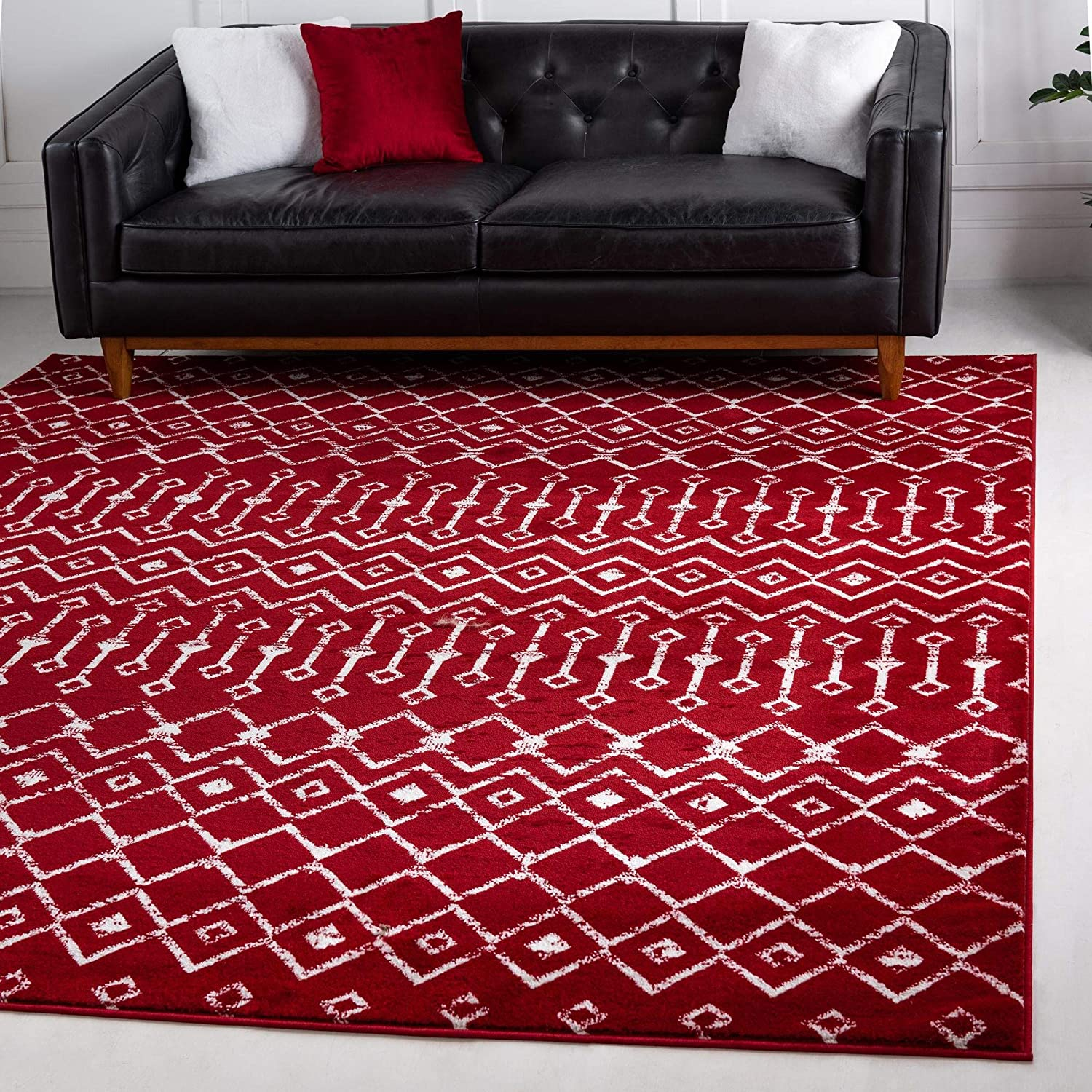 Rugs.com Geometric Kasbah Trellis Collection Rug – 6' Square Red Low Pile Rug Perfect for Living Rooms, Kitchens, Entryways
