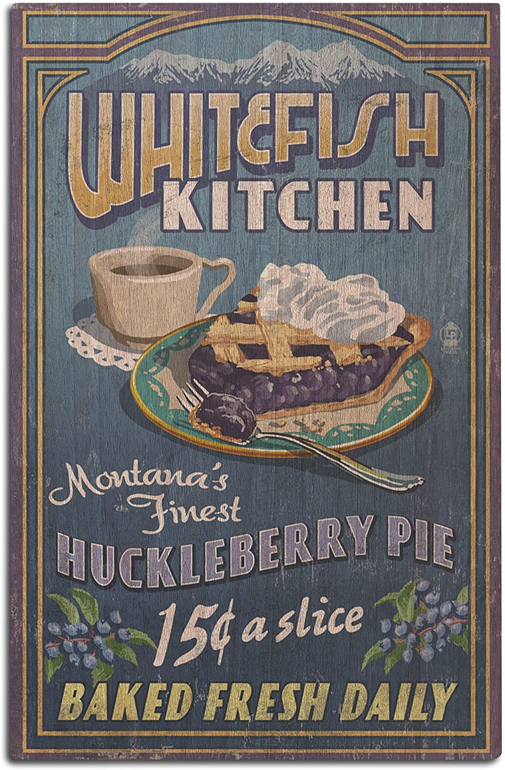 Lantern Press Whitefish, Montana - Huckleberry Vintage Sign (12x18 Wood Wall Sign, Wall Decor Ready to Hang)