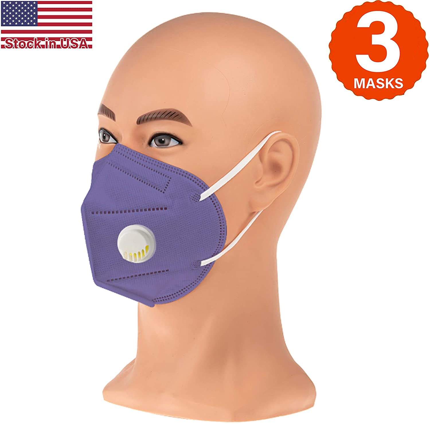 COOLINKO Purple Disposable Face Masks 5-Layers>95% Effectiveness Breathable Non-Woven with Nose Wire and Ear Loops - 5-Ply Protective Cotton Mouth Muffle Guard Covering Mask (3 Masks)