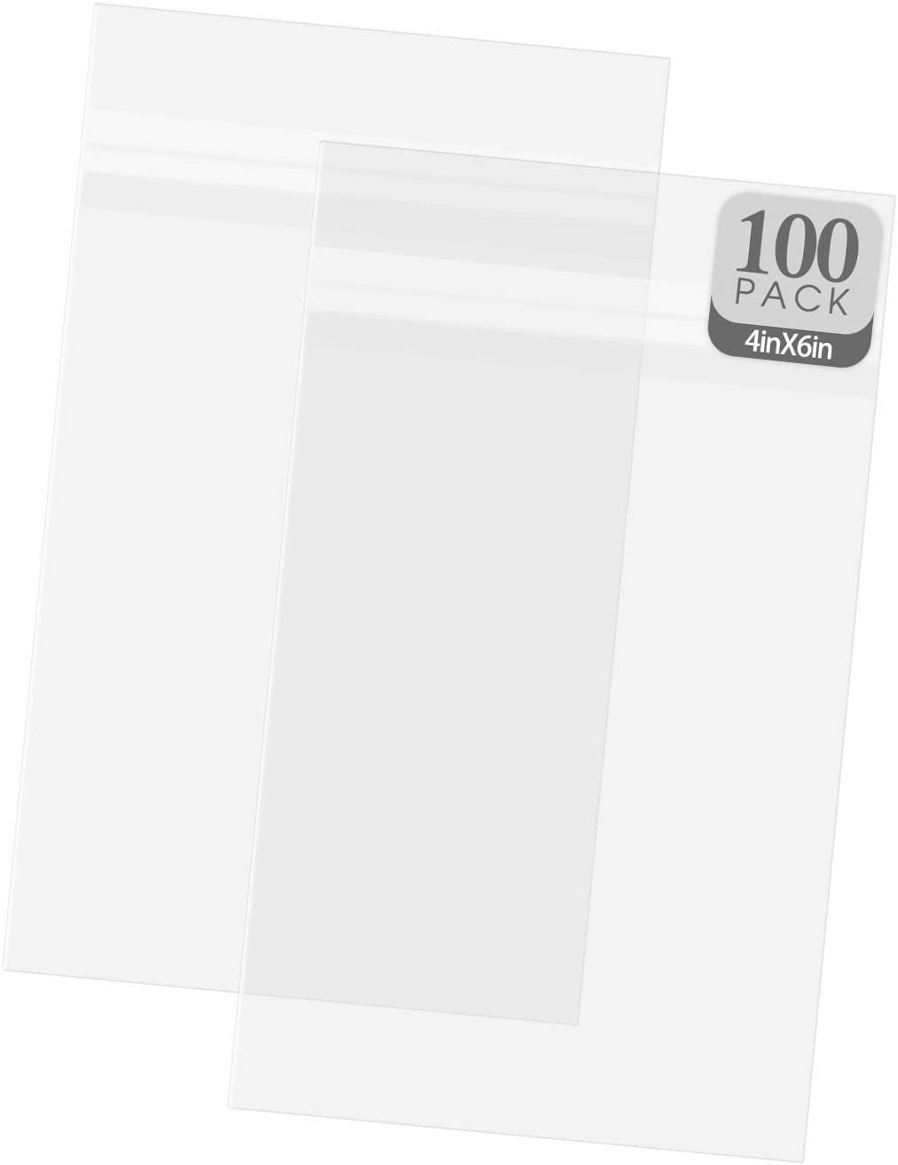 Golden State Art, 100 Pack Clear Bags for Mats, Pictures, Acid-Free, 4-3/4