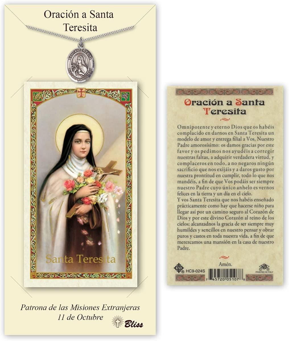 Pewter Santa Teresita Medal with Laminated Holy Prayer Card