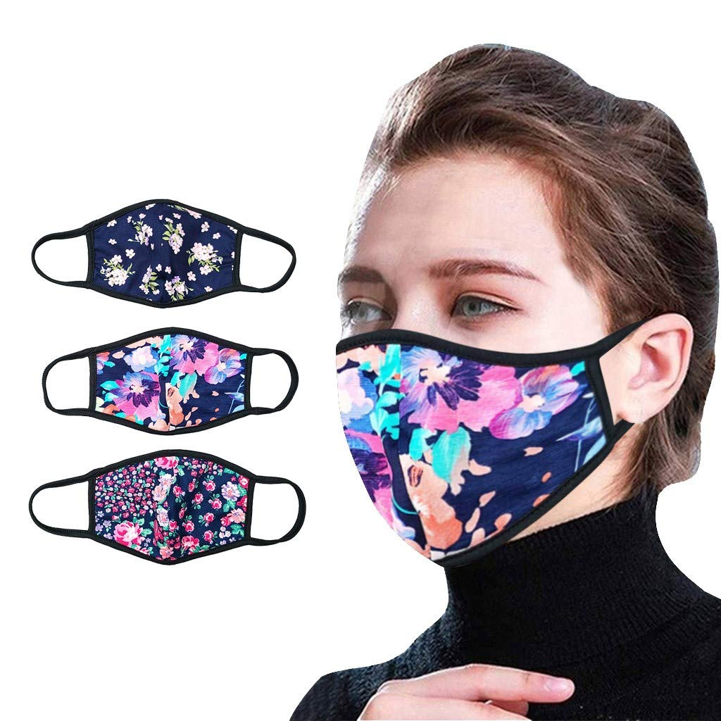 【USA In Stock 】3PCS Adults Cotton Face ṁɑѕḱ Cotton Printed Face Bandanas Mouth Face Protective for Women and Men, Lightweight Fashion Outdoor Washable Reusable Face Fabric For Cycling Camp