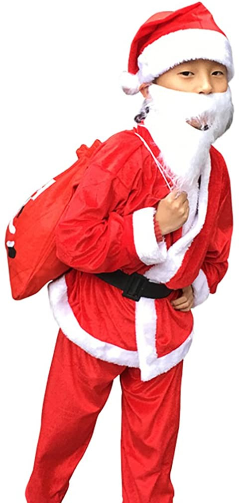 Santa Suit Christmas Party Fancy Dress Cosplay Costume Outfit Santa Claus Costume for Kids (RED BOY)
