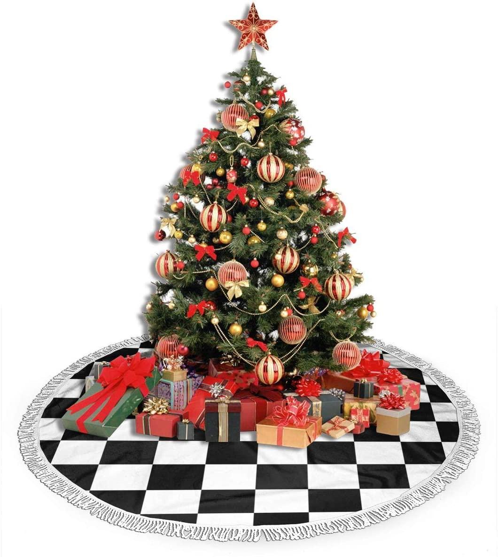 ULQUIEOR Christmas Tree Skirt Checkered Flag Race Winner Tree Mat with Tassel Xmas Tree Skirt for Holiday Christmas Decorations Xmas Decorations 48 Inch