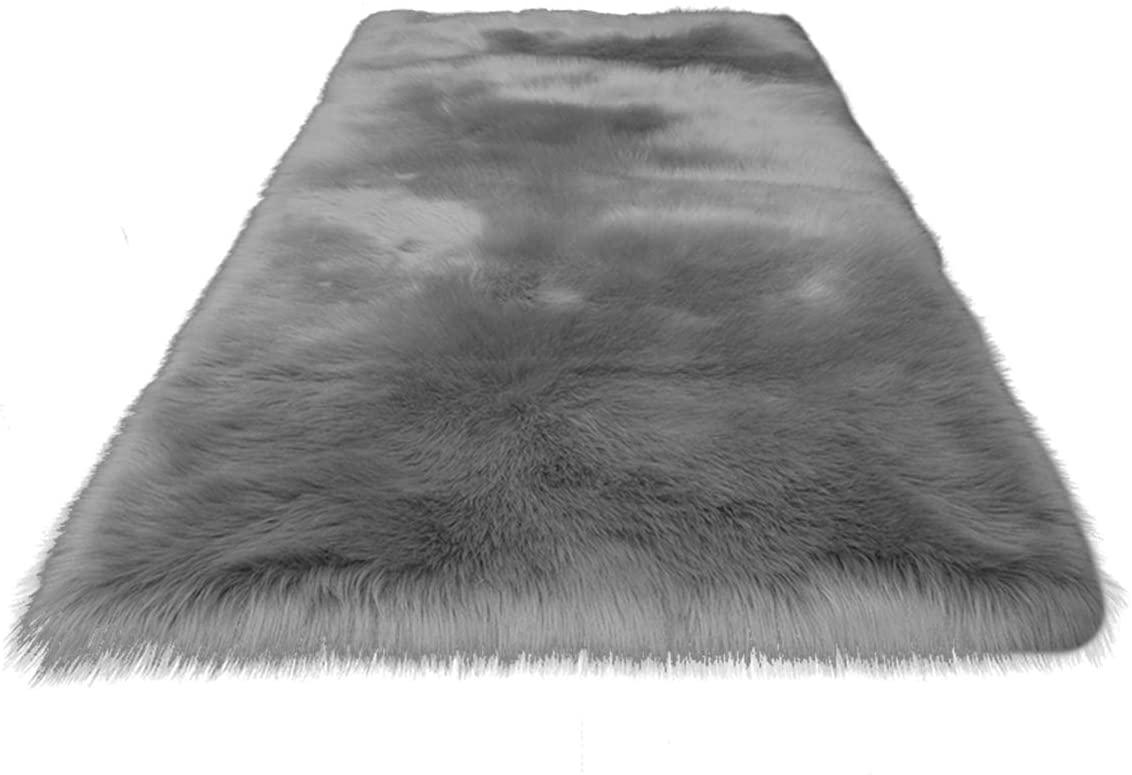SH-RuiDu Soft Faux Fur Fluffy Rug Floor Carpet Anti-Skid for Home Living Room Bedside Sofa