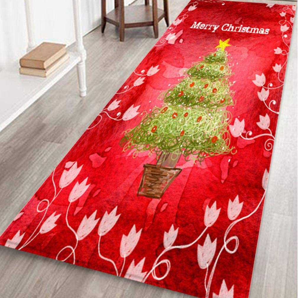 QWEDF Merry Christmas Style Carpets Welcome Doormats Indoor Carpets Carnival Home Decor 40x120CM Accessories Festival Decor Items Big Carpets for bedrooms (F)