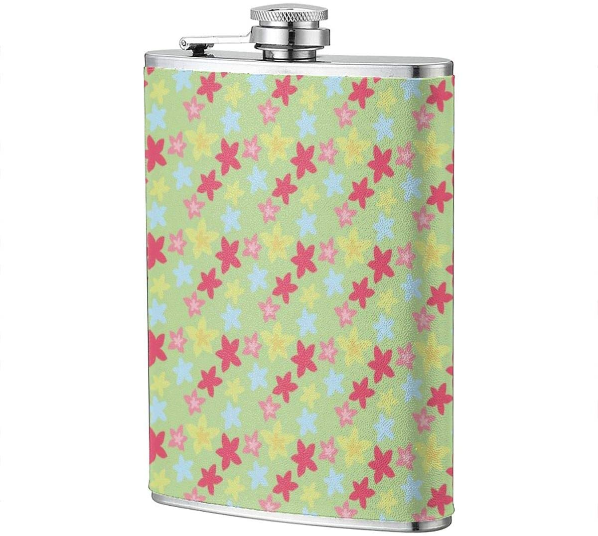 Pastel Colored Flower Portable 8 Oz Stainless Steel Leak-Proof Hip Flask For Whiskey With Leather Wrap Travel Camping Wine Pot Flagon For Men Women