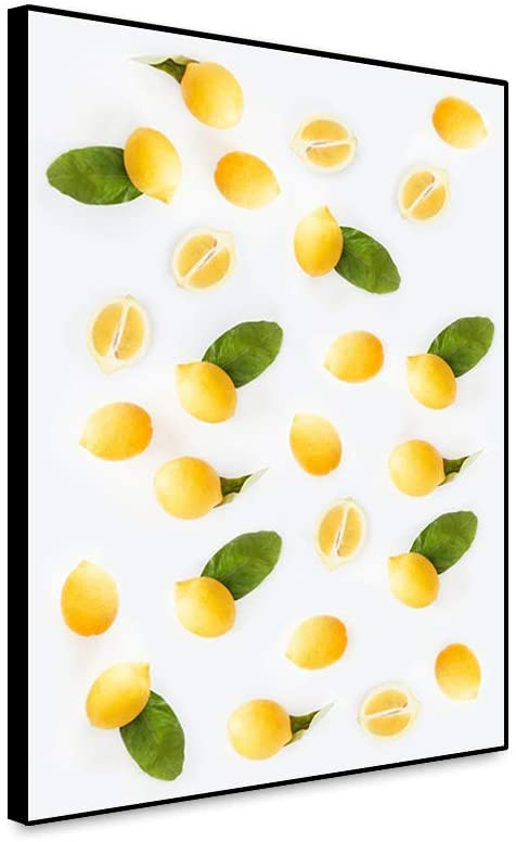 Yongto Kitchen Canvas Painting Fresh Lemons Yellow Fruits Green Leaves Canvas Wall Decor Fruitage Image Modern Style for Dining Room Fruit Shop Dessert House Cafe Bar Stairwell 16x24 Inch Unframed