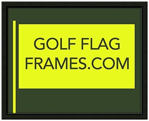 Custom Size Golf Flag Frame; Black 416 (Flag 14x22, Green mat)