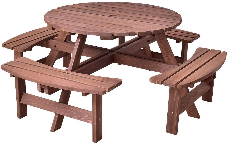 7DIPT Patio 8 Seat Wood Picnic Dining Seat Bench Set