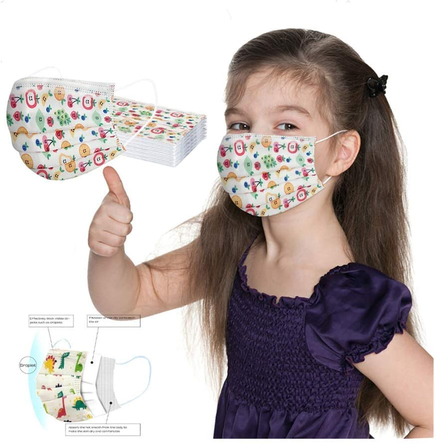[US Stock] Kids Face Mask Disposable 3 Ply 40Pcs Breathable Kids Disposable Face Masks With Cute Print by MASZONE