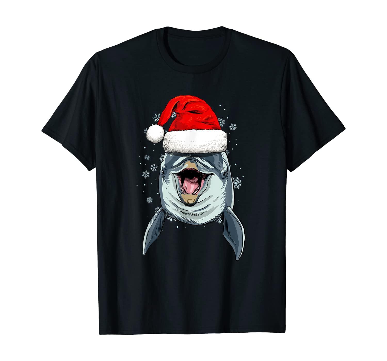 Dolphin Christmas Santa Hat Xmas Gifts Kids Boys Girls T-Shirt