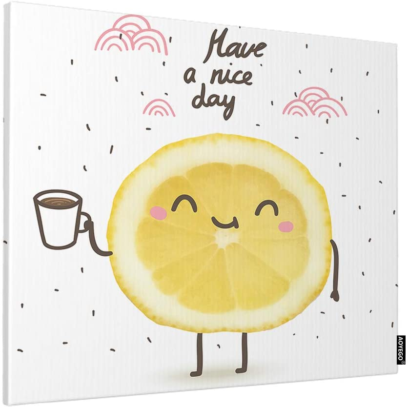 AOYEGO Lemon Wall Decor Cute Smile Lemon Slice Coffee Cloud Dot Have a Nice Day Word Art Paint Home Canvas Print Pictures Artwork for Bedroom Living Room 20x16 Inch