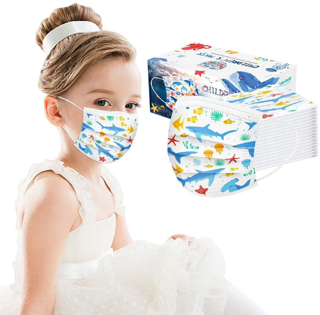 [US Stock] 100pcs 3-Ply Kids Face Mask Disposable Animal Print Anti-dust Breathable Face Masks for Protection by MASZONE