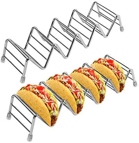 VBESTLIFE- Taco Stand Rack Stainless Steel Taco Holder Set of 2 Holds 4-5 Tacos Each Keeping for Both Hard or Soft Shell Tacos,8.7 x 2.6 x 1.6 inch