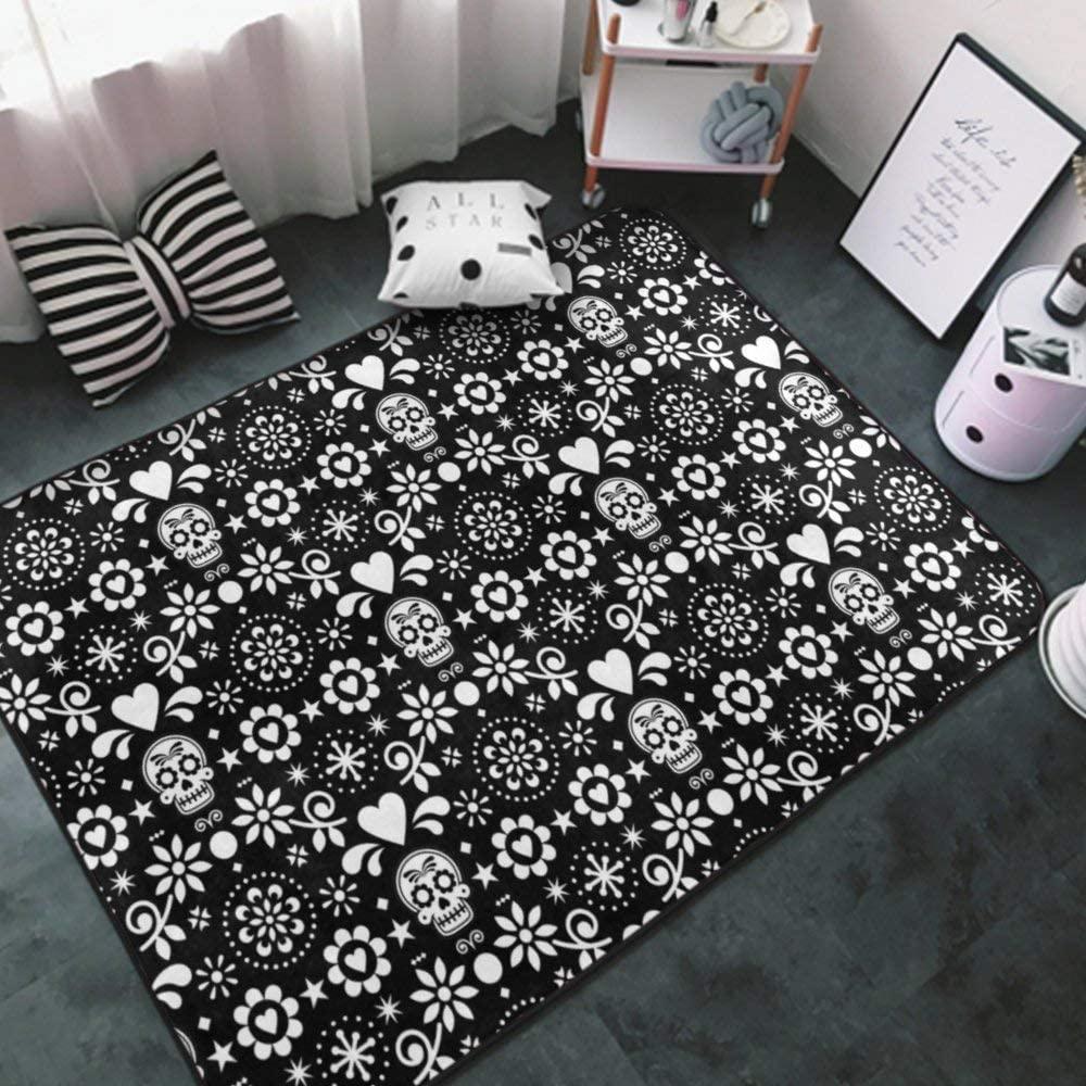 Area Rug Indoor Carpet Non-Slip Stylish Area Carpet for Living Room, Bedroom, Kitchen, Bathroom Cozy Carpets Floral Sugar Skull Black and White (3) 2 Rug